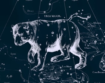 Constellation print, Star map, Zodiac print, Constellation of Ursa Major, 138