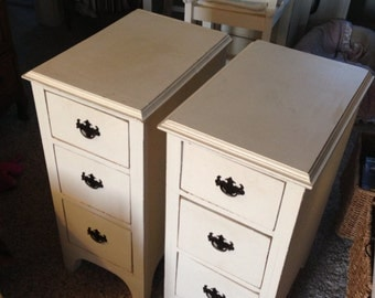 Vintage white pair of night stands