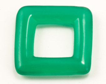 48Pcs (13mm) Vintage Green Ring Beads, Square Open Ring, Jade Glass Hoop Bead, Small Glass Frame, Closeout Jewelry Supplies