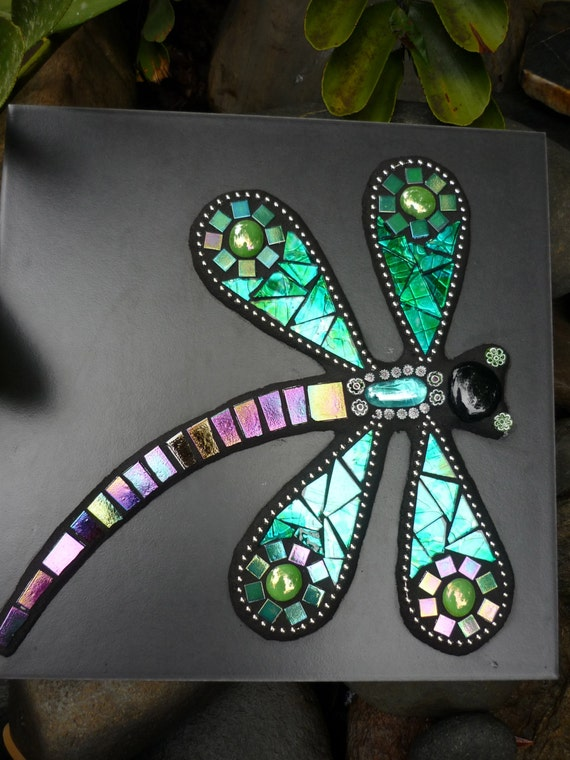 Made To Order Dragonfly Mosaic Mixed Media Art Tile With