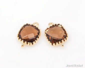 2pcs - Smoky Quartz color Glass and Gold Framed Connector / smoky / brown / 16k gold plating / glass / 8mm x 12mm / SSQG004-C