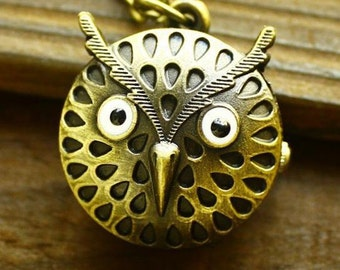 25mmx25mm Bronze color Owl  pocket watch charms pendant PP0155