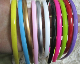 70pcs (7color) Candy color plastic Headband 8mm Wide