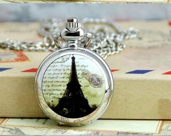 1pcs small Eiffel Tower  pocket watch charms pendant    25mmx25mm AA102