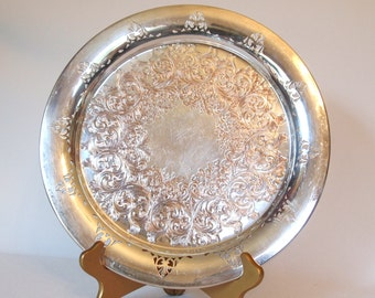 Vintage Silver Serving Tray  Silver on Copper Round Drink Tray WM Rogers with Ornate Design and Cutout Border Wedding Dining Serving