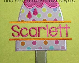 Split Popsicle Machine Embroidery Applique Design