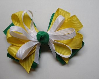 Emerald Green Primary Sunny Yellow White Hair Bow Yellow Back to School Boutique Team Spirit Wear