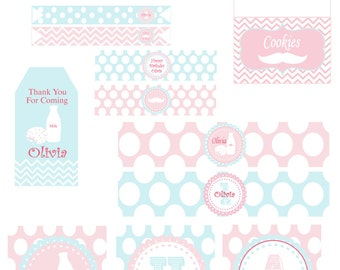 Complete Cookies and Milk Chevron Birthday Party Favor tags and Printables- pdf File