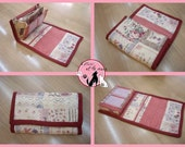 Accordion Fabric Wallet in Red/Pale Pink with Flower