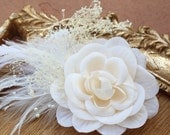 Ivory color flower clip with white feather