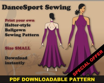 Halter Style Ballroom and Latin Gown Sewing Pattern, PDF downloadable, SIZE SMALL, plus free Manual