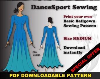 Ballroom and Latin Gown Sewing Pattern, PDF downloadable, SIZE MEDIUM, plus free Manual