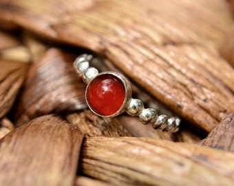 Stacking Ring in Carnelian, Red Carnelian Cabochon Ring in Sterling Silver, August Birthstone, Bridesmaids Gifts