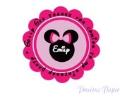 20 Personalized Minnie Mouse Birthday Stickers Minnie mouse Party Favors Round Labels Minnie Mouse Address Label