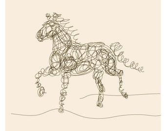 Horse Line Illustration - Simple