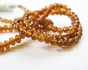 Garnet Rondelles, AAA Spessartite Rondelles, Garnet Beads, AAA, Half Strand, 2.75mm to 3.5mm, 8 inches