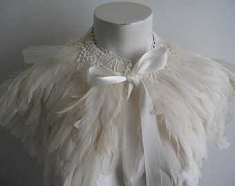 Feather Capelet...choose a color...ivory, black, white, grey, red