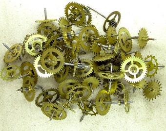 Brass Clock Gears - Steampunk Supplies - set of 50 - G81
