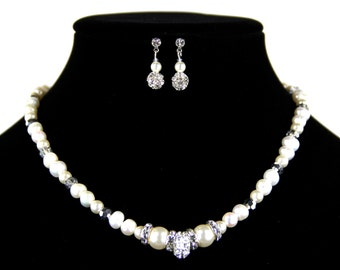 Bridal Jewelry Necklace Set with Freshwater Pearls and Swarovski Crystals