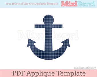 Anchor Applique Pattern PDF Applique Template Instant Download