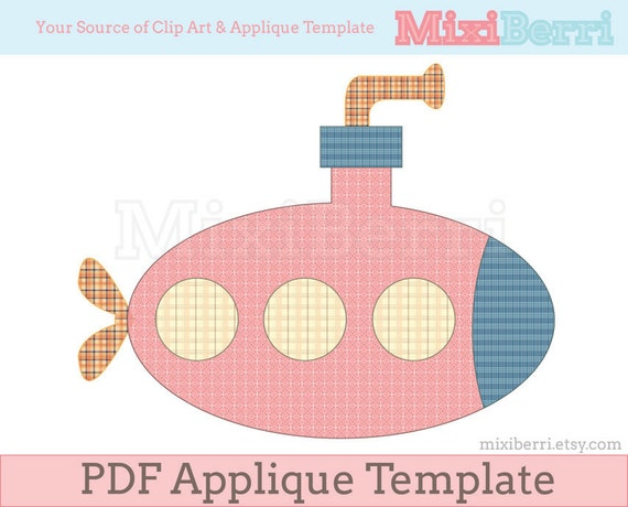Pink Submarine Applique Template PDF Applique Pattern By