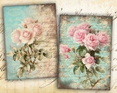 Shabby Roses Pink Greeting Cards - Digital Collage Sheet best for paper craft, jewelry holders, digital backgrounds - SHABBY ROSES FOREVER