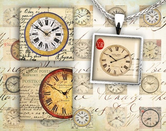 Digital Collage Sheet - 1x1 inch Squares - Instant Printable Download - Best for jewelry pendants, paper craft, scrapbook - OLD CLOCKS