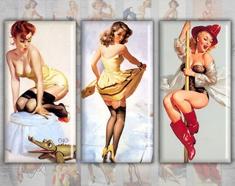 Domino 1x2 inch - Pinup Girls - Digital Collage Sheet - Instant Download for jewelry pendants - MARVELOUS PINUP