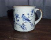 KOREAN HANDCRAFTED Vintage CUP Featurning Blue Birds and Blue Flowers Outlined in Bronze