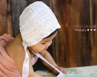 White Silk Baby Bonnet-- lace and silk Christening bonnet. infant Photo prop. baby girl hat. Silk baby bonnet. Heirloom bonnet. Infant.