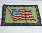 American Flag, Early 1910's Vintage Felt Tobacco Blanket, Patriotic