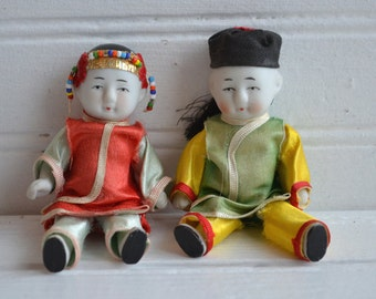 Vintage Bisque Dolls | Asian Dress | Frozen Charlotte | Penny Doll | Vintage Dolls | Antique Bisque Doll