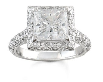 Ladies 18kt white gold pave diamond engagement ring with 2ct Princess cut white sapphire center and 1 ctw of G-VS2 pave-set diamonds