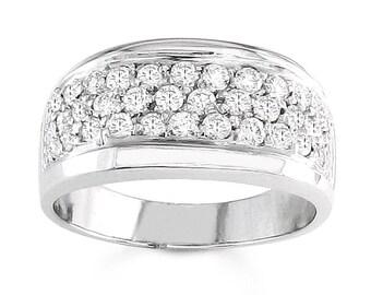 Ladies 14kt white gold pave diamond band 0.90 ctw natural G-VS2 diamonds