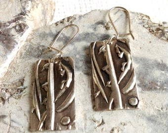 Sterling silver. Silver metal clay. Silver earrings.  SOLD