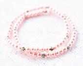 Pink Bracelet Stretch Stack Bead Bracelet Spring Pink Czech Glass, Stone and Silver