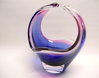 Vintage Flygsfors Paul Kedelv Coquille Art Glass Basket Sweden