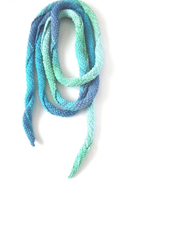 SUMMER SALE: 20% OFF, Mercerized Cotton Turquoise, Mint, Spiral, Skinny Scarf, Crochet, Necklace, Spring, Summer, Fall, Autumn Fashion