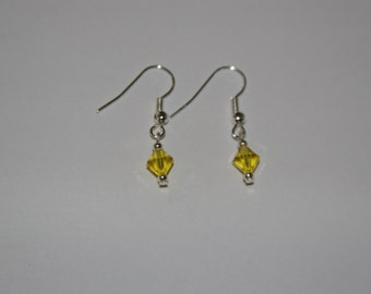 Yellow Swarovski earrings