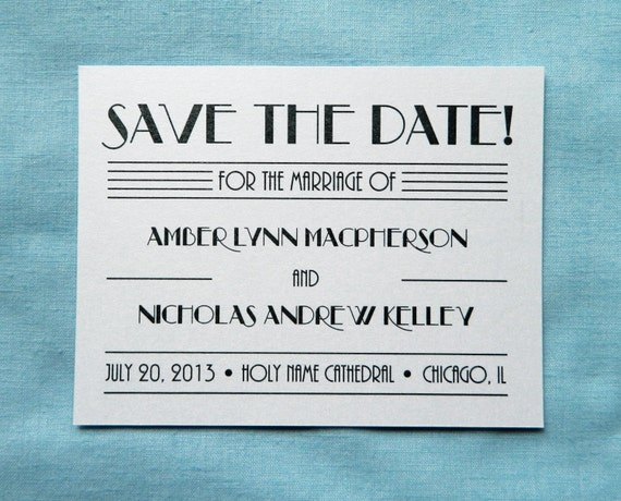 art deco save the date card bei mir bist du. Black Bedroom Furniture Sets. Home Design Ideas