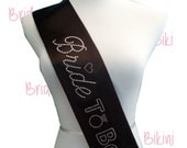 Bride Sash. Satin Sash. Bride-To-Be Sash. Bachelorette Sash. Bachelorette Party. Black Sash. Silver Sash. Pink Sash