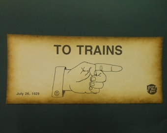 """Vintage  Warning Sign Thick Paper Print Reproduction """" To Trains""""  Collectible Hobby Funny Sign Gag Gift Man Cave Railroad Decor"""