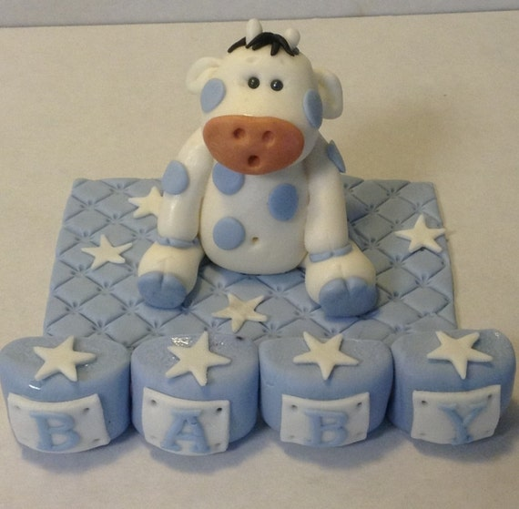baby boy cake toppers items similar to baby boy cow fondant cake topper birthday 1416