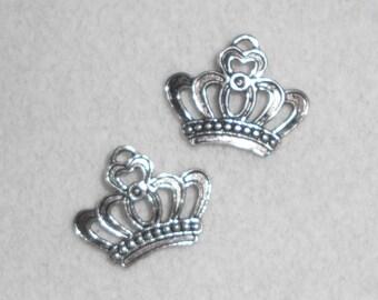 Silver  Reniassance Crown Charms