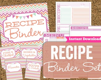 INSTANT DOWNLOAD Recipe Binder- Recipe Binder Set with Matching Cards and Menu Planner