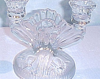 Iris and Herringbone by Jeannette Crystal Candlestick