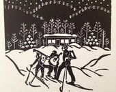 "Block printed greeting card ""Wandering Minstrels"" by S. Elizabeth Holloran"