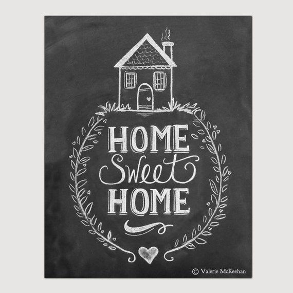 home sweet home print chalkboard art home sweet by lilyandval. Black Bedroom Furniture Sets. Home Design Ideas