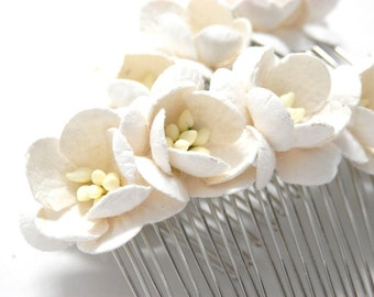 White Cherry Blossom Floral Hair Comb/ Traditional/ Bridal/ Wedding Hair Accessories/ Bridesmaid Hair Fascinator