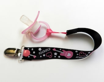 Baby Girl pacifier clip Rockstar Pacifier Clip for baby girl,baby girl shower gift ready to ship